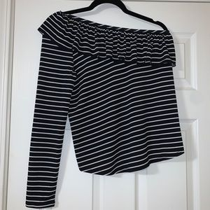 New one shoulder striped Kaari Blue blouse
